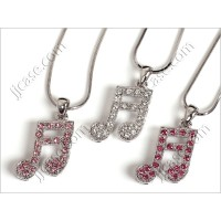 Bling Music Beam Notes Necklace with Swarovski Elements Made in KOREA (1 pc)
