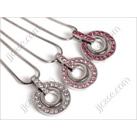 Bling Crystal Dual Circle Necklace with Swarovski Elements - Made in KOREA (1pc)