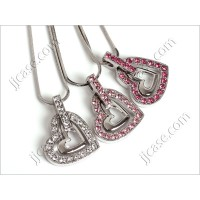 Bling Crystal Dual Heart Necklace with Swarovski Elements - Made in KOREA (1pc)