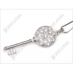 Bling Crystal Flower Key Necklace with Swarovski Elements - Made in KOREA