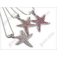 Bling Starfish Necklace with Swarovski Elements Made in KOREA - L (1 piece)