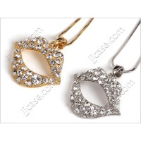 Bling Full Lip Necklace with Swarovski Elements Crystal - Made in KOREA (CL-G/S)