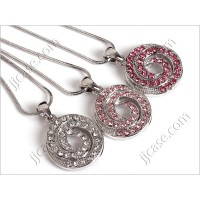 Bling Swirl Circle Crystal Necklace with Swarovski Elements Made in KOREA (1 pc)