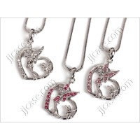 Bling Tinkerbell and Heart Necklace with Swarovski Elements Made in KOREA (1 pc)