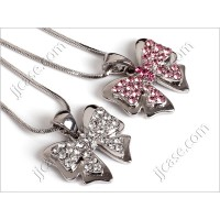 Bling Ribbon Bow Crystal Necklace with Swarovski Elements Made in KOREA (1 pc)